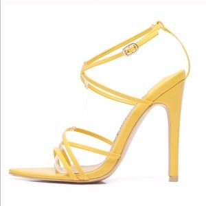 yellow pointed toe heels